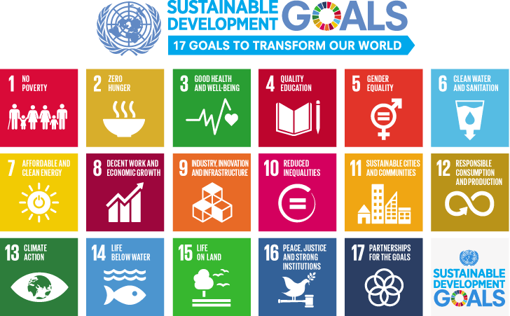 The multi color grid depicts the The 17 sustainable development goals (SDGs): GOAL 1 No Poverty GOAL 2 Zero Hunger GOAL 3 Good Health and Well-being GOAL 4 Quality Education GOAL 5 Gender Equality GOAL 6 Clean Water and Sanitation GOAL 7 Affordable and Clean Energy GOAL 8 Decent Work and Economic Growth GOAL 9 Industry, Innovation and Infrastructure GOAL 10 Reduced Inequality GOAL 11 Sustainable Cities and Communities GOAL 12 Responsible Consumption and Production GOAL 13 Climate Action GOAL 14 Life Below Water GOAL 15 Life on Land GOAL 16 Peace and Justice Strong Institutions GOAL 17 Partnerships to achieve the Goal
